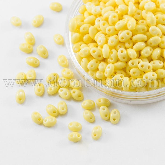 Бисер Preciosa Twin 03181, Мел Цветной, Размер: 2,5х5мм, Цвет: Желтый (УТ0027106)