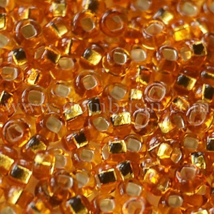 Бисер 17070 Чешский Preciosa 10/0, Прозрачный с серебряной полосой TSL, Золотой, Круглый, (УТ100015631)