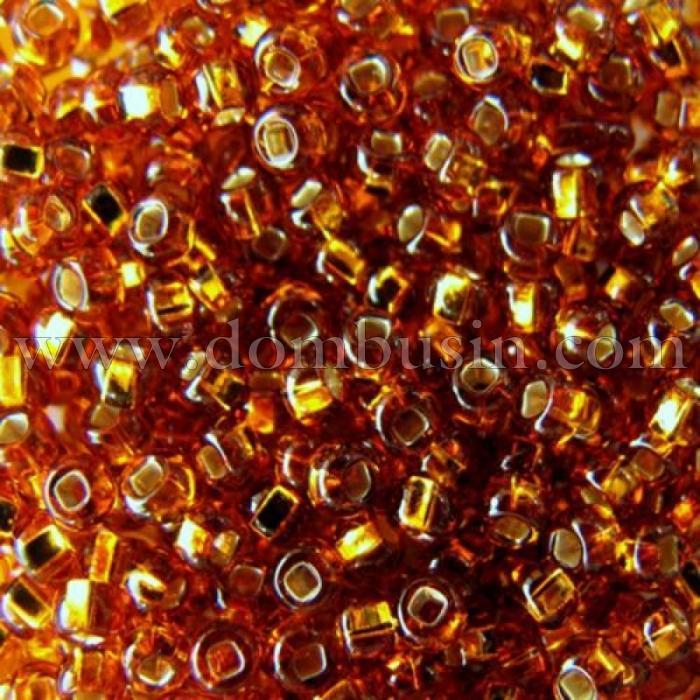 Бисер 17090 Чешский Preciosa 10/0, Бисер Preciosa 33129/17090, размер 10/0, Прозрачный с серебряной полосой TSL, Золотой, Круглый, (УТ100015632)