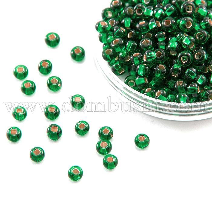 Бисер 57060 Чешский Preciosa 10/0, Бисер Preciosa 33129/57060, размер 10/0, Прозрачный с серебряной полосой TSL, Зеленый, Круглый, (УТ100015636)