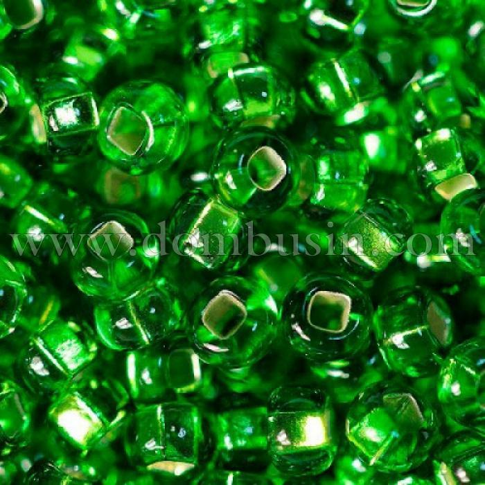 Бисер 57430 Чешский Preciosa 10/0, Бисер Preciosa 33129/57430, размер 10/0, Прозрачный с серебряной полосой TSL, Зеленый, Круглый, (УТ100015638)