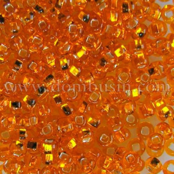 Бисер 87060 Чешский Preciosa 10/0, Бисер Preciosa 33129/87060, размер 10/0, Прозрачный с серебряной полосой TSL, Оранжевый, Круглый, (УТ100015641)