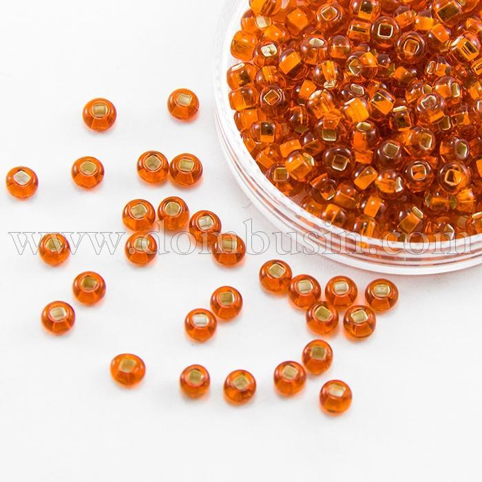 Бисер 97000 Чешский Preciosa 10/0, Бисер Preciosa 33129/97000, размер 10/0, Прозрачный с серебряной полосой TSL, Оранжевый, Круглый, (УТ100015643)