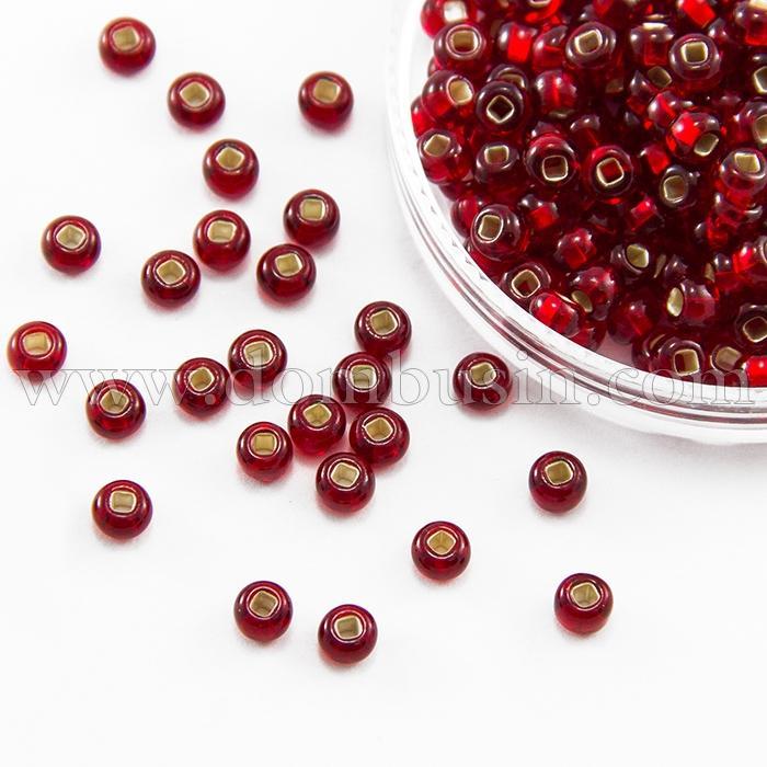 Бисер 97090 Чешский Preciosa 10/0, Бисер Preciosa 33129/97090, размер 10/0, Прозрачный с серебряной полосой TSL, Красный, Круглый, (УТ100015644)