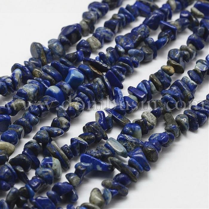 Бусины Натуральный Лазурит, На нитях, Крошка, Цвет: Серо-синий, Размер: 3~5x7~13x2~4мм, Отв. 0.4мм, около 88см/нить, (УТ100015692)