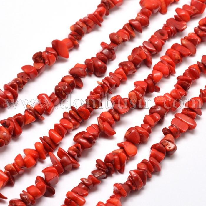 Бусины Натуральный Коралл, На нитях, Окрашенный, Крошка, Цвет: Красный, Размер: 5~8х5~8мм, Отв. 1мм, около 80см/нить, (УТ100015693)