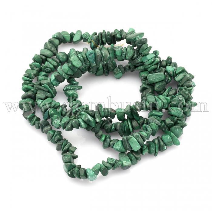 Бусины Натуральный Малахит, На нитях, Крошка, Цвет: Зеленый, Размер: 3~5x7~13x2~4мм, Отв. 0.4мм, около 91см/нить, (УТ100015720)