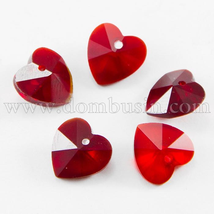 Кулон Сердце Стеклянный Граненый, Цвет: Темно-красный, Размер: 10x10x5мм, Отверстие 1мм, (УТ100015734)