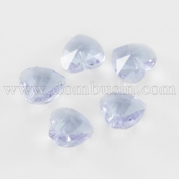 Кулон Сердце Стеклянный Граненый, Цвет: Светло-голубой, Размер: 10x10x5мм, Отверстие 1мм, (УТ100015736)