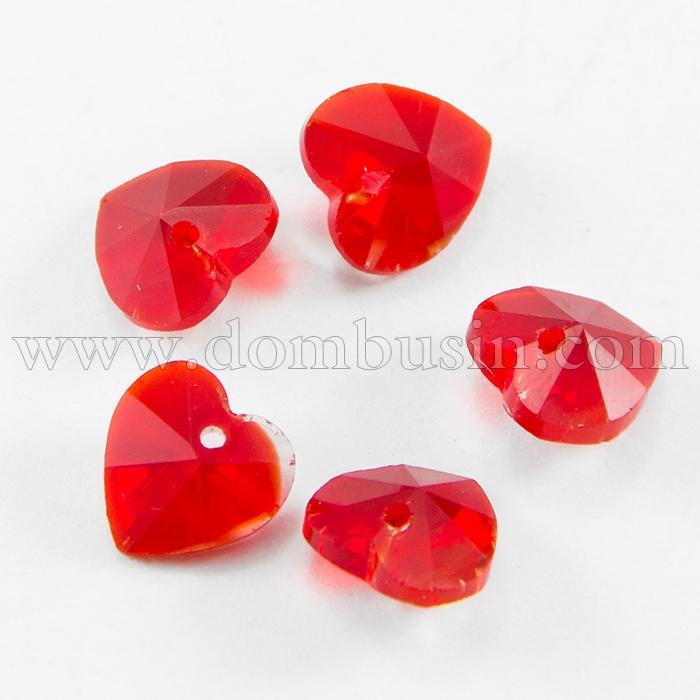 Кулон Сердце Стеклянный Граненый, Цвет: Красный, Размер: 10x10x5мм, Отверстие 1мм, (УТ100015737)