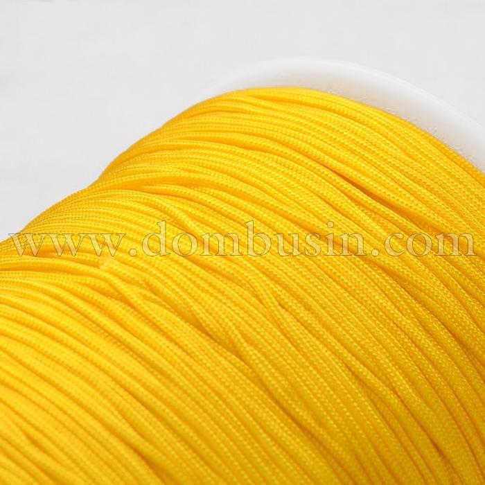 Шнур Полиэстер 1мм, для Нанизывания Бусин и Плетения Браслетов, Цвет: Желтый, Размер: 1мм, (УТ100015794)