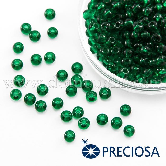 Бисер 50120 Чешский Preciosa 6/0, Прозрачный NT, Зеленый, Круглый, (УТ100015850)