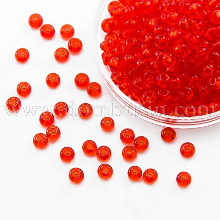 Бисер 90050 Чешский Preciosa 6/0, Прозрачный NT, Красный, Круглый, (УТ100015862)