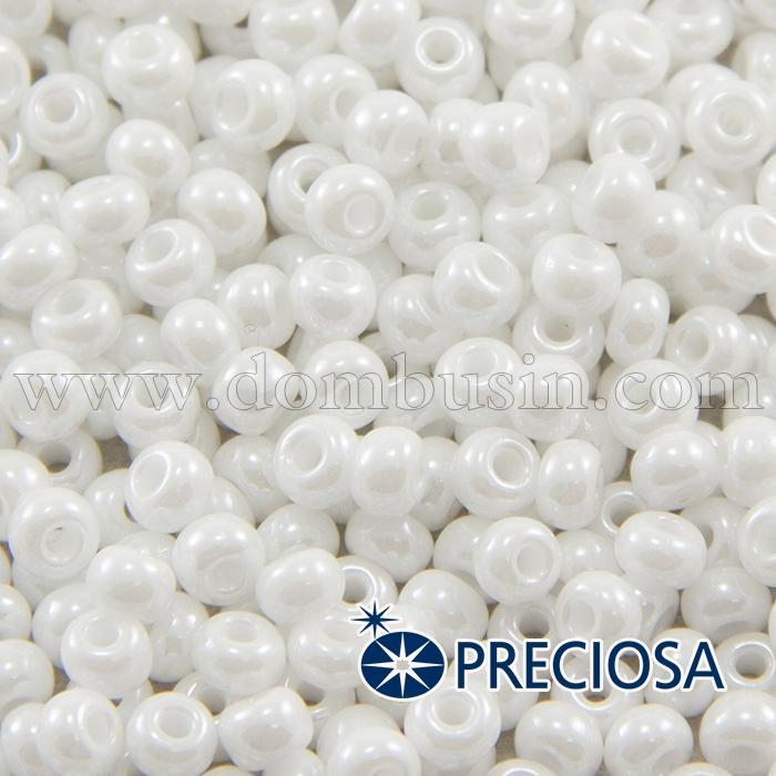 Бисер 46102 Чешский Preciosa 6/0, Непрозрачный Радужный OL, Белый, Круглый, (УТ100015911)