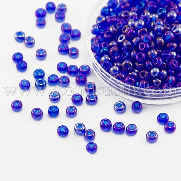 Бисер 61300 Чешский Preciosa 6/0, Прозрачный радужный TR, Синий, Круглый, (УТ100015921)