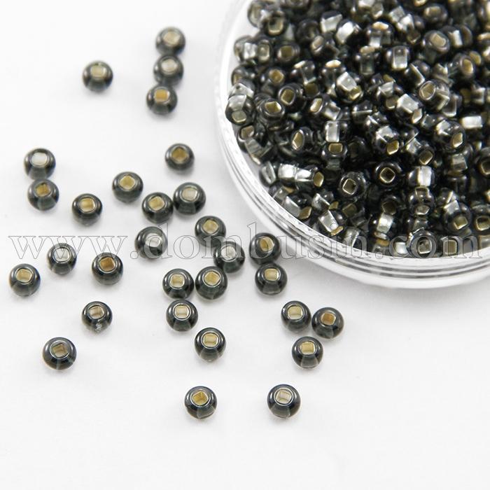 Бисер 47010 Чешский Preciosa 6/0, Прозрачный с серебряной полосой TSL, Черный, Круглый, (УТ100015928)