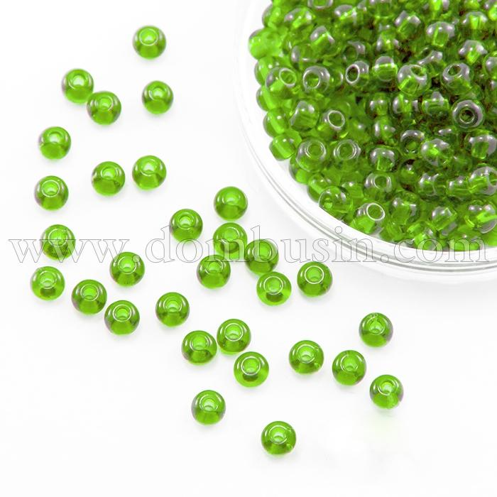 Бисер 56430 Чешский Preciosa 10/0, Прозрачный блестящий TS, Зеленый, Круглый, (УТ100015957)