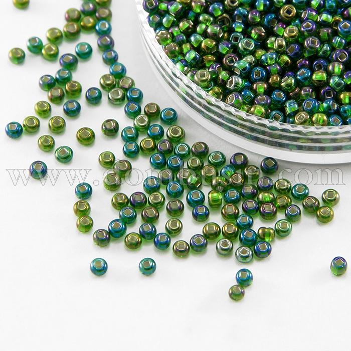 Бисер 57129 Чешский Preciosa 10/0, Прозрачный радужный TR, Цвет: Зеленый, Круглый, (УТ100015959)