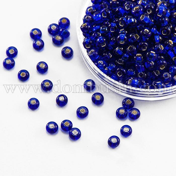Бисер 67100 Чешский Preciosa 10/0, Прозрачный с серебряной полосой TSL, Синий, Круглый, (УТ100015963)