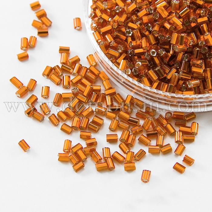 """Бисер Стеклярус 35122/97000/1"""" Чешский Preciosa, Прозрачный с серебряной полосой TSL, Оранжевый, (УТ100015999)"""