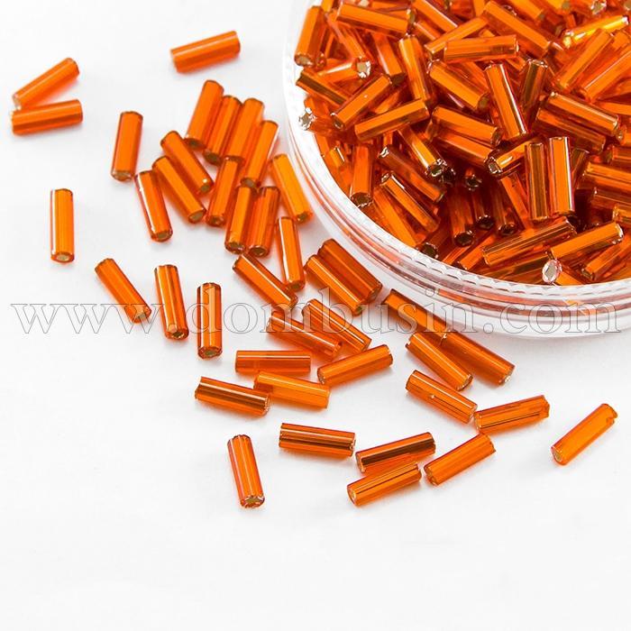 """Бисер Стеклярус 35122/97030/3"""" Чешский Preciosa, Прозрачный с серебряной полосой TSL, Оранжевый, (УТ100016000)"""