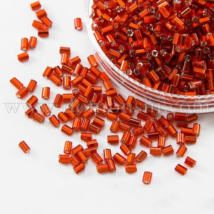 """Бисер Стеклярус 35122/97050/1"""" Чешский Preciosa, Прозрачный с серебряной полосой TSL, Оранжевый, (УТ100016001)"""