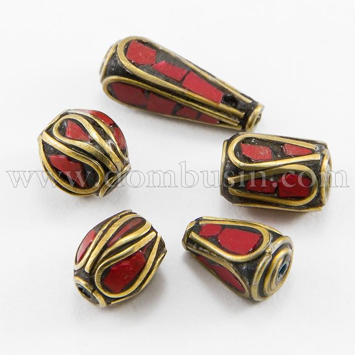 Бусины из Латуни, Вставки из Коралла, Микс Форм, Цвет: Античное Золото+Красный, Размер: 8~25x8~13мм, Отверстие 1~1.5мм, (УТ100016009)