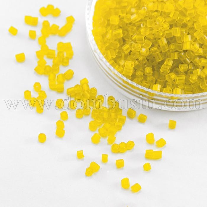 Бисер Рубка 35134/80010/10 Чешский Preciosa, Прозрачный матовый TM, Желтый, (УТ100016069)