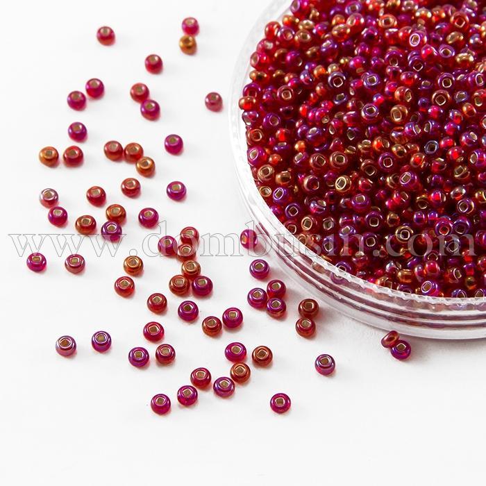 Бисер 97079 Чешский Preciosa 10/0, Прозрачный радужный TR, Красный, Круглый, (УТ100016109)