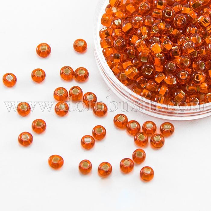 Бисер 97030 Чешский Preciosa 10/0, Прозрачный с серебряной полосой TSL, Оранжевый, Круглый, (УТ100016110)