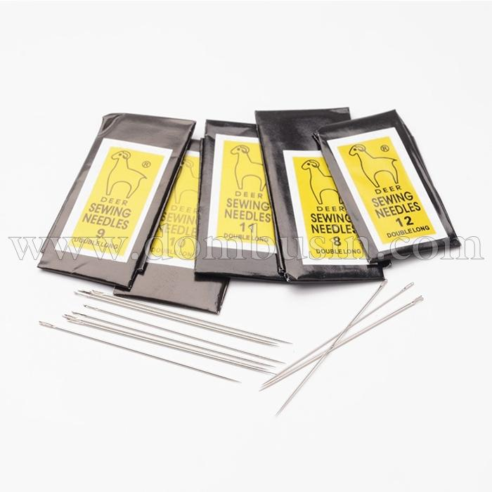 Иглы для Шитья Железные, Размер: 40~55x0.45~0.7мм, Отверстие: 0.3~0.5мм, около 25шт/уп., в наборе 5 упаковок, (УТ100016178)