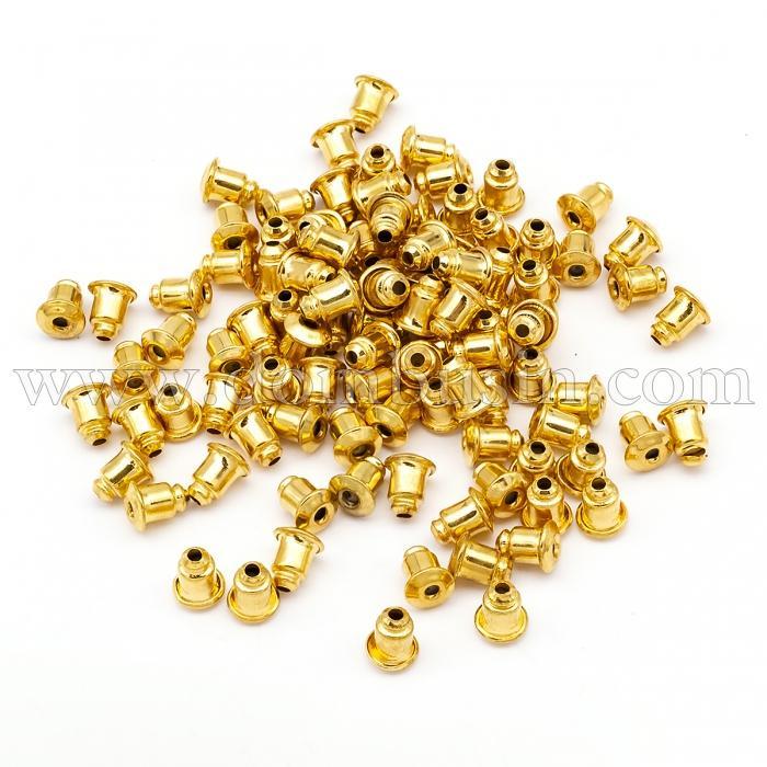 Заглушки, Латунь, Силикон внутри, Цвет: Золото, Размер: 6х5мм, Отверстие 1мм, (УТ100016204)