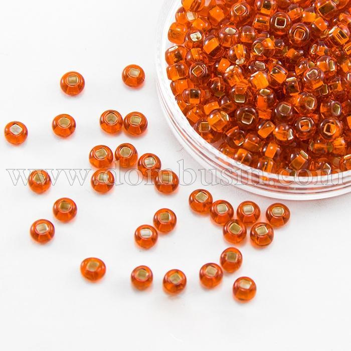 Бисер 97050 Чешский Preciosa 10/0, Прозрачный с серебряной полосой TSL, Красный, Круглый, (УТ100016224)