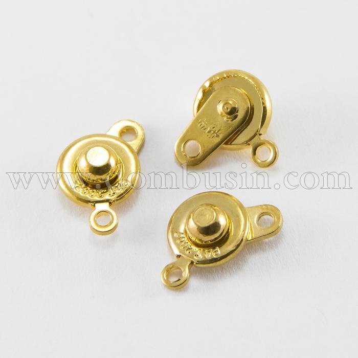 Застежка-Кнопка, Латунь, Цвет: Золото, Размер: 16х9мм, Отверстие 1,2мм, (УТ100016314)