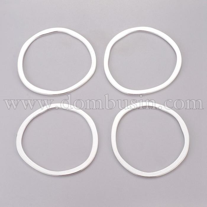 Коннектор Кольцо из  Сплава, Цвет: Серебро, Размер: 51x49х1.5мм, (УТ100016346)