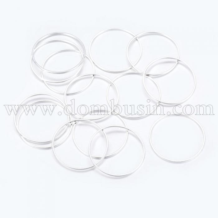 Коннектор Кольцо, Латунь, Цвет: Серебро, Размер: 30х1мм, (УТ100016355)