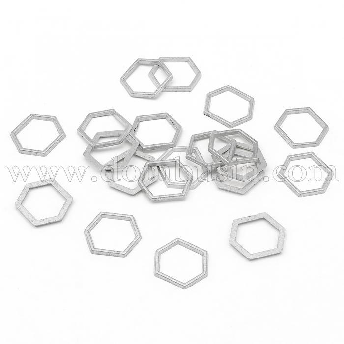 Коннектор Шестиугольник из Сплава, Шестиугольник, Цвет: Серебро, Размер: 12x14x1мм, (УТ100016466)