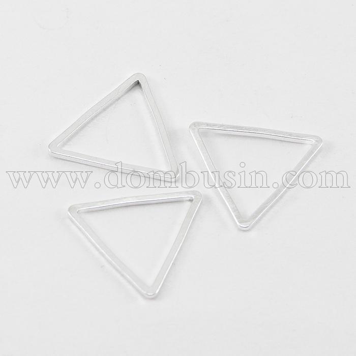 Коннектор Треугольник, Латунь, Цвет: Серебро, Размер: 13x15x1мм, Внутренний Диаметр 11x12мм, (УТ100016467)