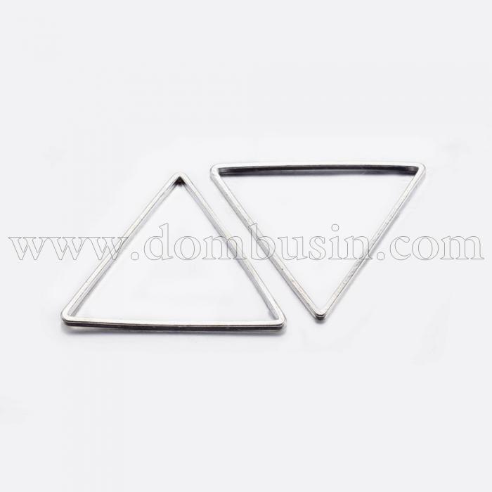 Коннектор Треугольник, Латунь, Цвет: Серебро, Размер: 17.5x20x0.8мм, Внутренний Диаметр 15.5x17.5мм, (УТ100016468)