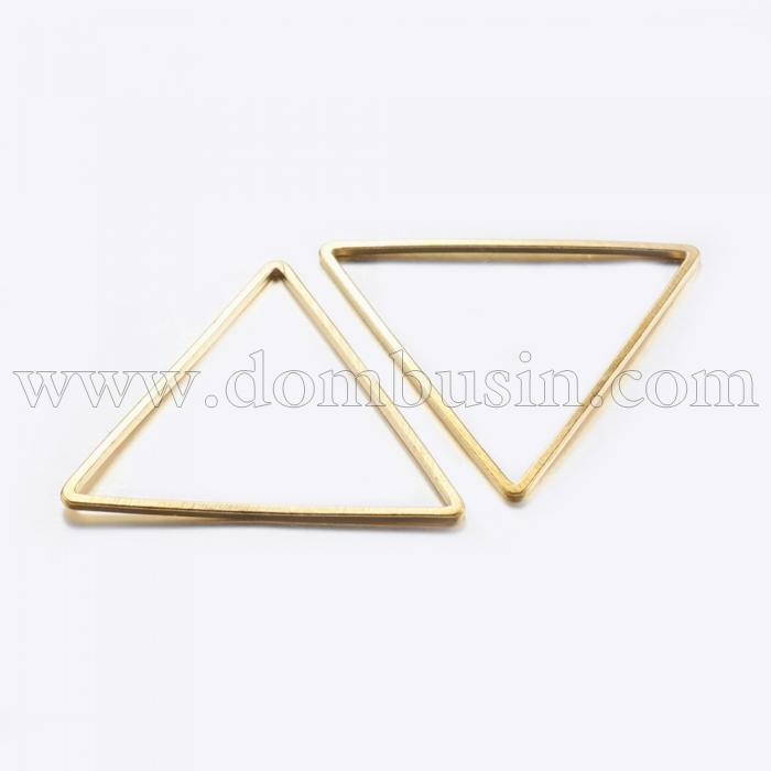 Коннектор Треугольник, Латунь, Цвет: Золото, Размер: 23.5x27x0.8мм, Внутренний Диаметр 22x24мм, (УТ100016470)