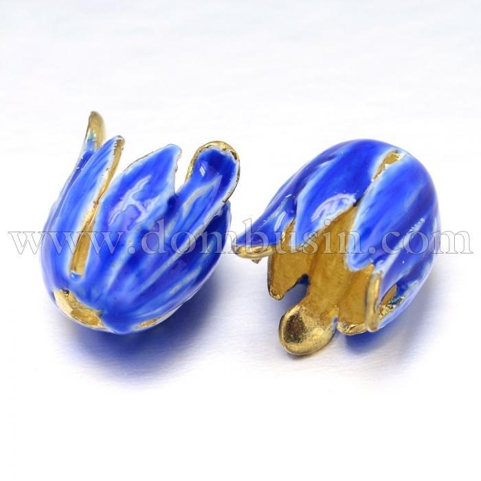 Конус для Бусин, Латунь + Эмаль,Цветок, Цвет: Синий, Размер: 15x13мм, Отверстие 2мм и 10мм, (УТ100016497)