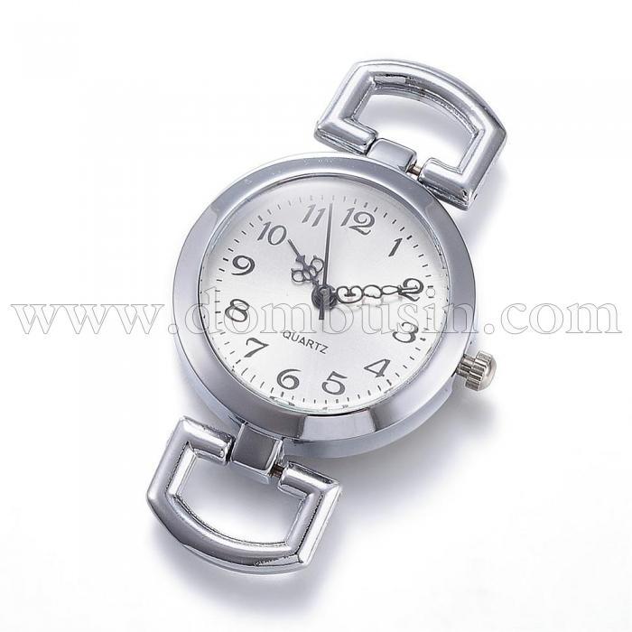 Основа для часов из Сплава, Круглая, Плоская, Цвет: Платина, Размер: 49x29x9мм, Отверстие 10x5.5мм, (УТ100016520)