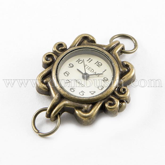 Основа для Часов из Сплава, Цвет: Бронза, Размер: 27~32x28~34x7~8мм, Отверстие 6~7мм, (УТ100016671)