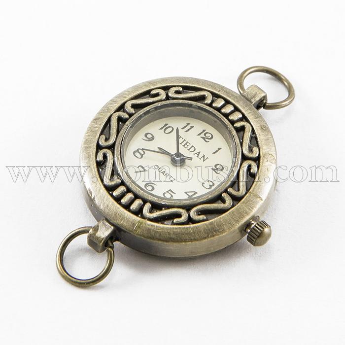 Основа для Часов из Сплава, Цвет: Бронза, Размер: 27~32x28~34x7~8мм, Отверстие 6~7мм, (УТ100016672)