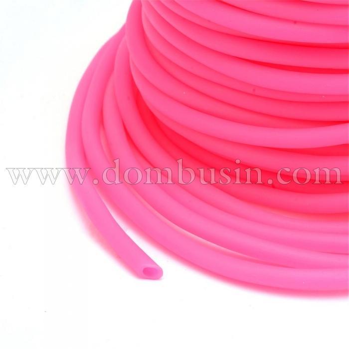 Шнур Резиновый Синтетический, Полый, Цвет: Темно-розовый, Размер: Толщина 2мм, Отверстие около 1мм, (УТ100016742)
