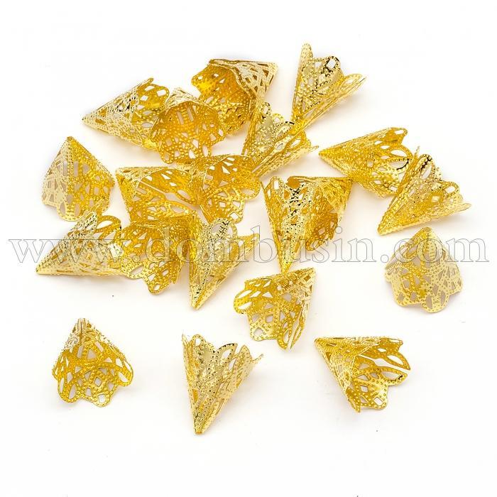 Конус Шапочки для Бусин, Железные, Цвет: Золото, Размер: 17x20мм, Отверстие 1мм, (УТ100016746)