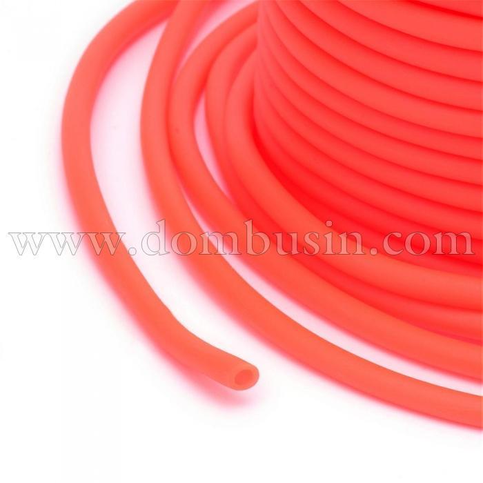 Шнур Резиновый Синтетический Полый, Цвет: Коралловый, Толщина 3мм, Отверстие 1.5мм, (УТ100016753)