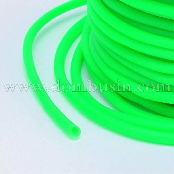 Шнур Резиновый Синтетический Полый, Цвет: Лайм, Толщина 3мм, Отверстие 1.5мм, (УТ100016754)