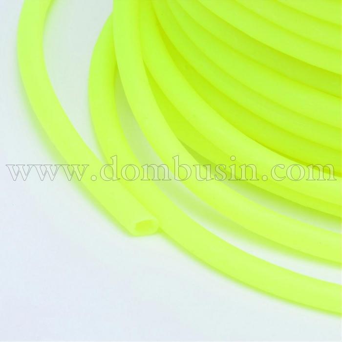 Шнур Резиновый Синтетический Полый, Цвет: Желто-зеленый, Толщина 3мм, Отверстие 1.5мм, (УТ100016755)