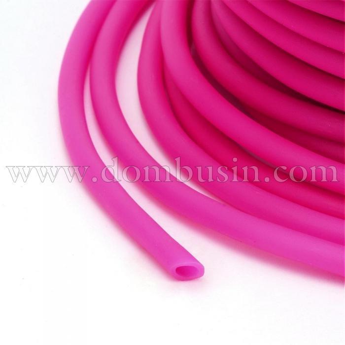 Шнур Резиновый Синтетический Полый, Цвет: Камелия, Толщина 3мм, Отверстие 1.5мм, (УТ100016756)
